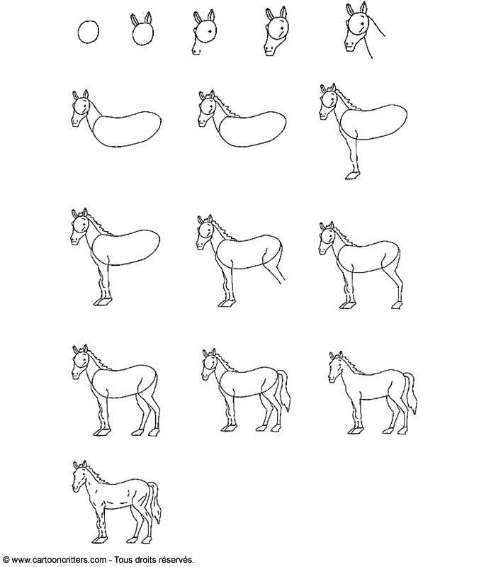 Apprendre dessiner un cheval art pinterest for Dessin facile a refaire