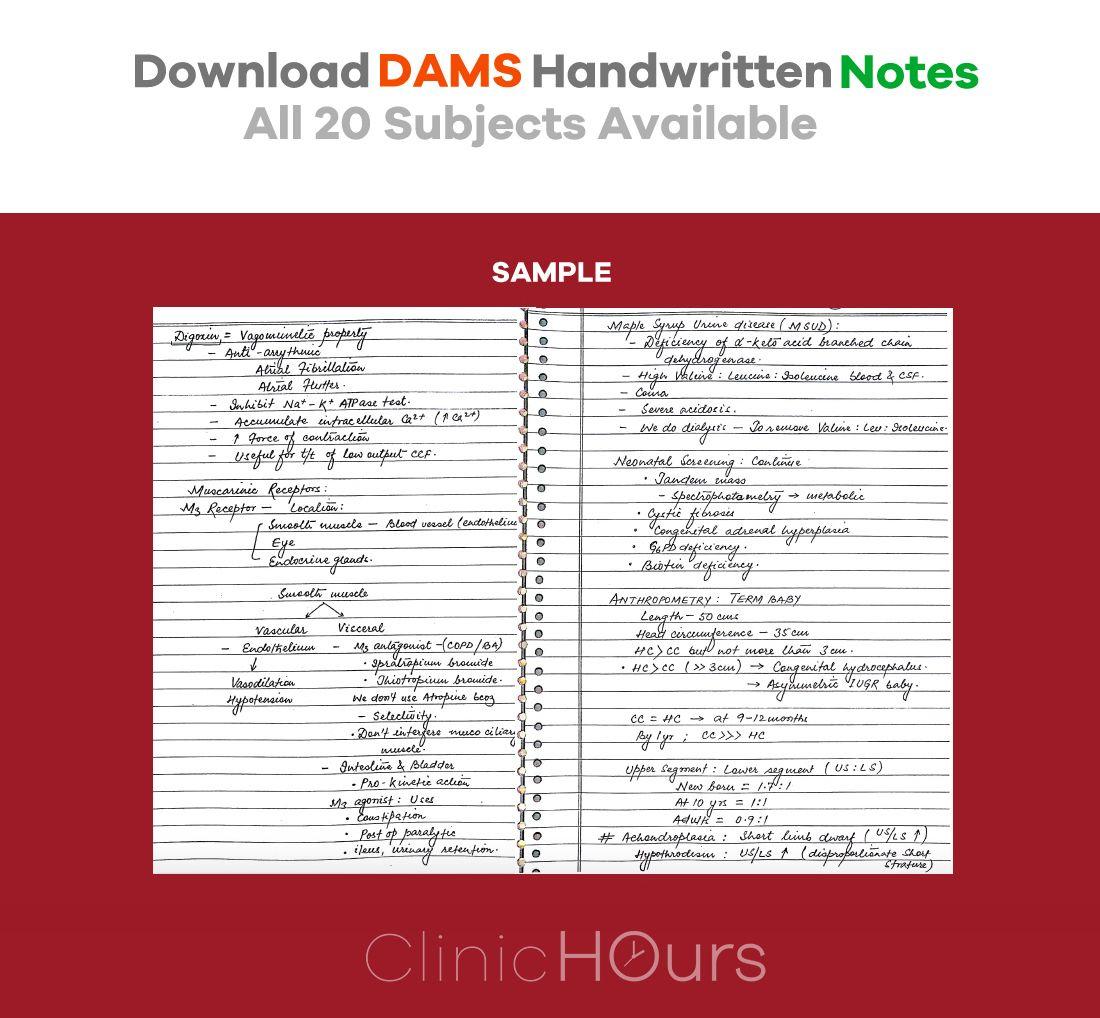 DAMS Handwritten notes for NEET – PG, AIIMS and PGI  DAMS