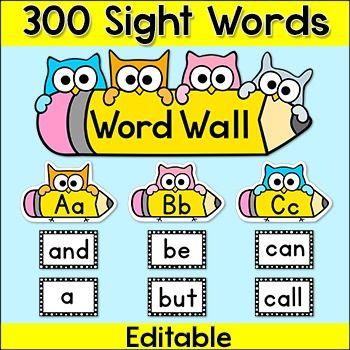 Sight Words Word Wall - Editable Owl Theme Classroom Decor | Word ...