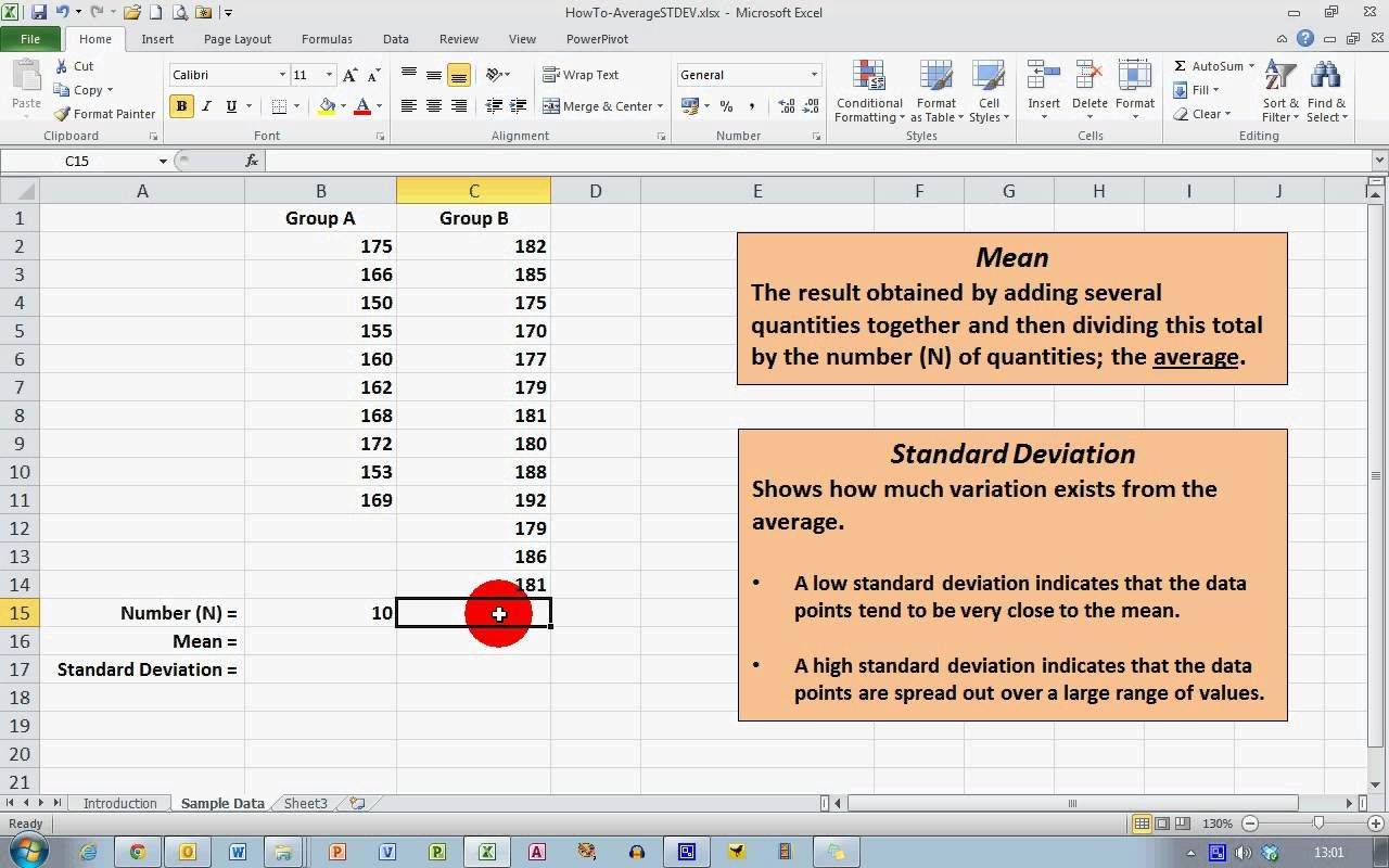 Calculate An Average And Standard Deviation In Excel