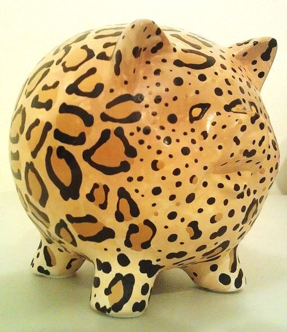 Ceramic Leopard Painted Piggy Bank Medium by sharonshobbies, $20.00