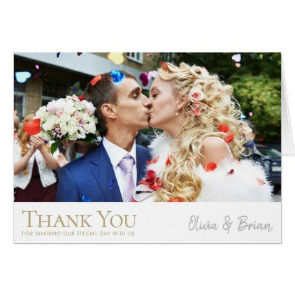 Simply Chic Photo Wedding Thank You Note Card Note cards, Note and