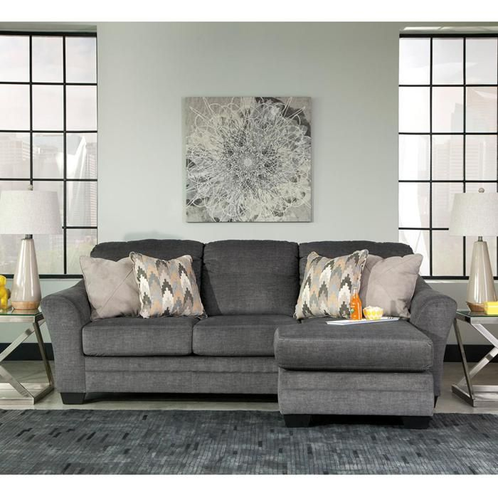 Braxlin Sofa Chaise in Charcoal