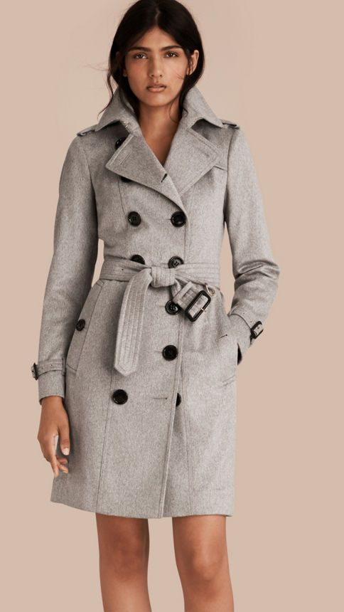 Pale grey Sandringham Fit Cashmere Trench Coat Pale Grey ...