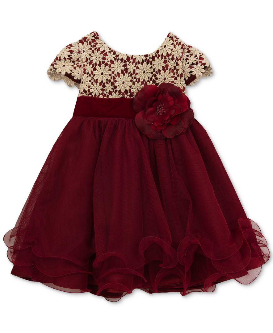 Rare Editions Metallic-Crochet Ruffle Dress, Baby Girls (8-8