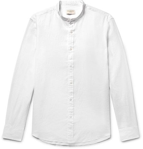 CLUB MONACO Slim-fit Grandad-collar Linen Shirt - Black U5bCsd