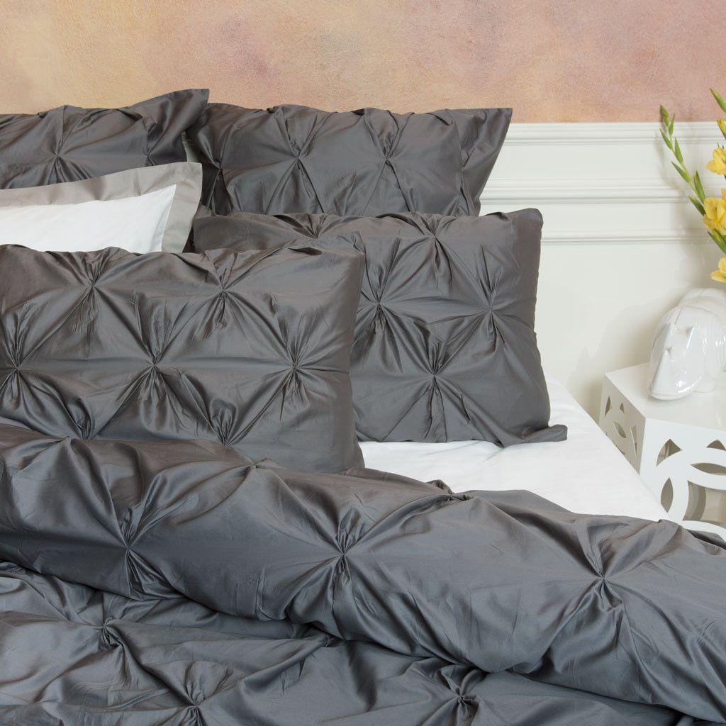 The Valencia Charcoal Gray Pintuck Duvet Cover Set Crane