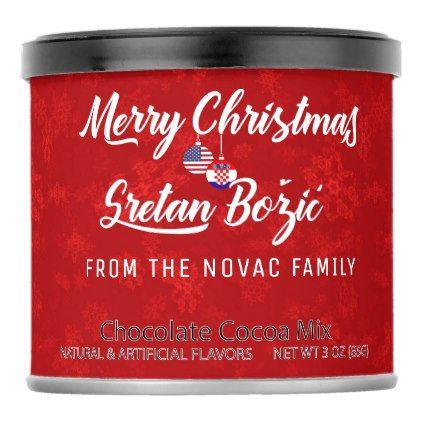 Bilingual Croatian American Holiday Hot Cocoa Hot Chocolate Drink Mix    Bilingual Croatian American Holiday Hot Cocoa Hot Chocolate Drink Mix - merry christmas diy xmas present gift idea family holidays