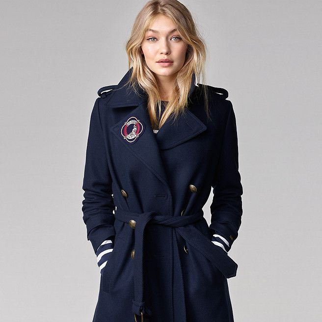 tommy hilfiger long military wool coat gigi hadid midnight tommy hilfiger coats main image. Black Bedroom Furniture Sets. Home Design Ideas