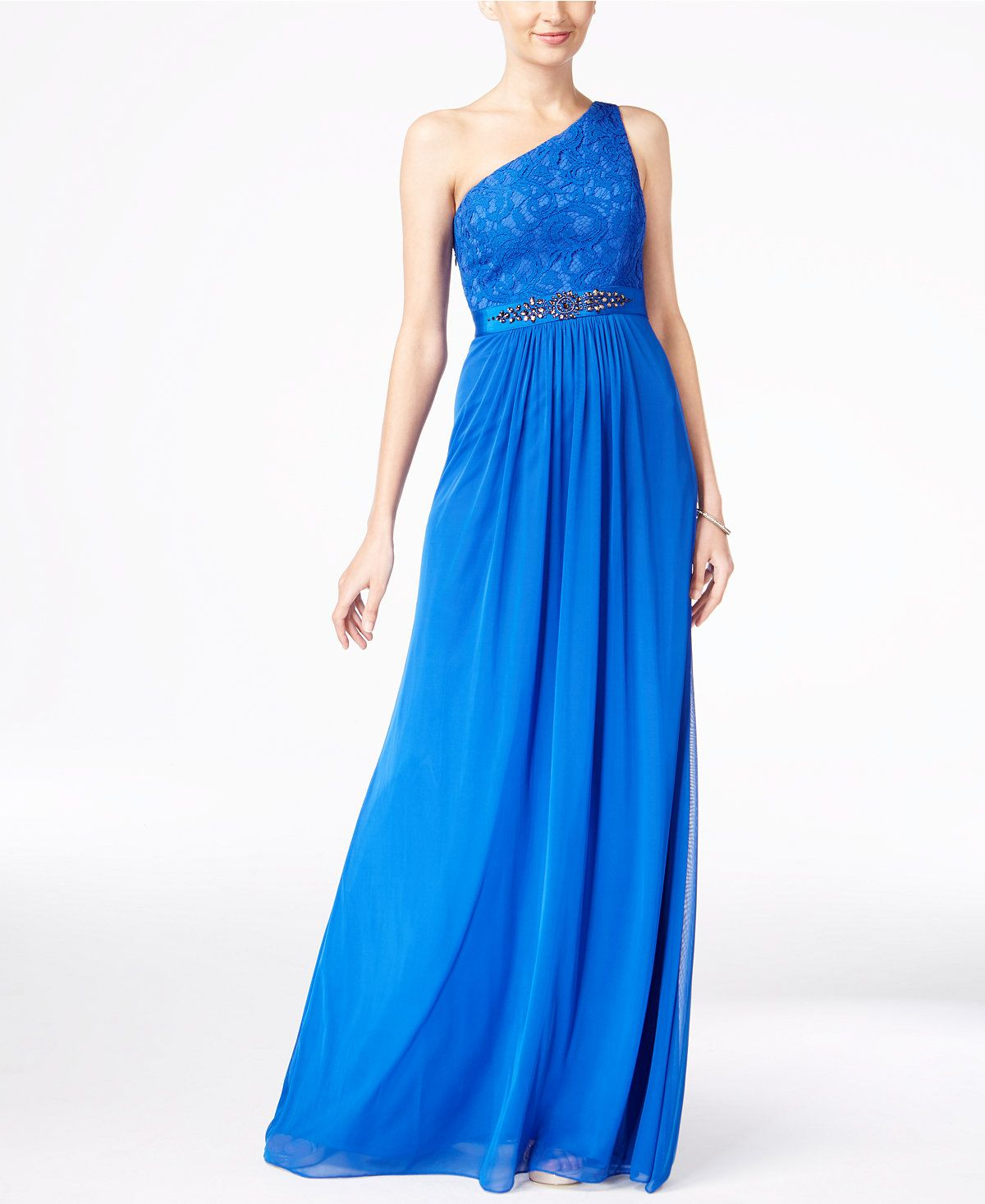 Lace dress royal blue  Adrianna Papell Embellished Lace OneShoulder Gown  Royal blue