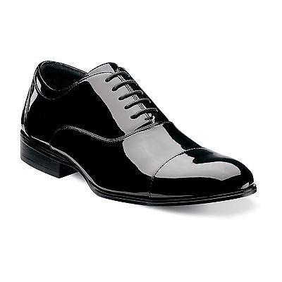 Stacy Adams Mens Black Faux Patent Leather Cap Toe Business Oxford Dress  Shoe
