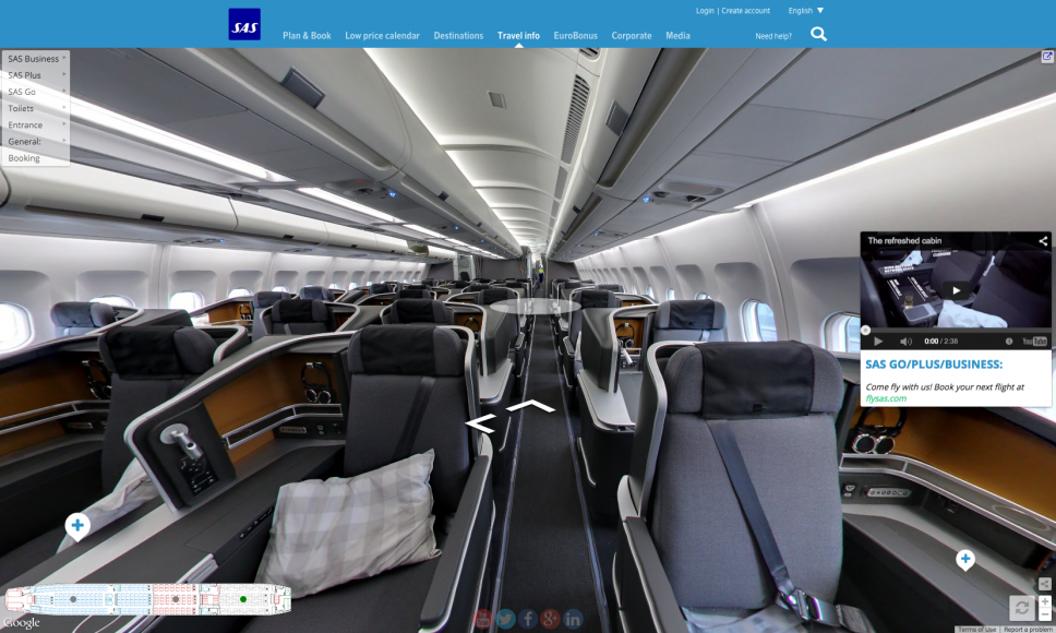 Scandinavian Airlines Lets Customers Tour Cabins Using Google Street View Sas Airlines Airlines Google Street View
