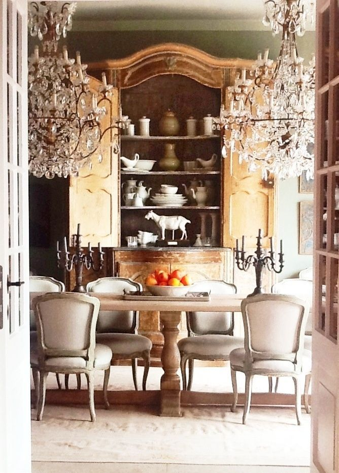 Showcasing your decorative treasures in a beautiful French armoire in the dining  room. uniqueshomedesign  french interior charisma design   Antique with