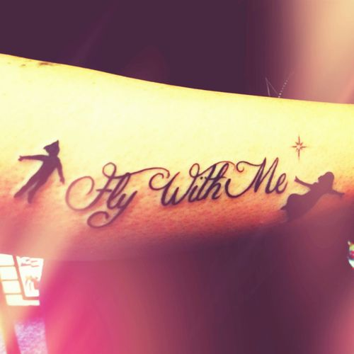 Peter Pan Wendy Turned Out Fine So Won T You Fly With Me Peter Pan Tattoo Tattoos Foot Tattoos