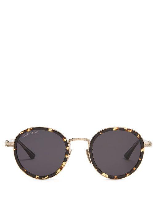 ee4a1b595f4 Gucci Tortoiseshell round-frame sunglasses