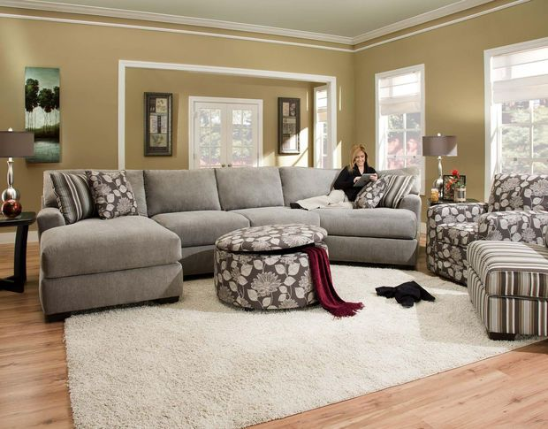 Large Ash Gray Sectional By Corinthian Furniture