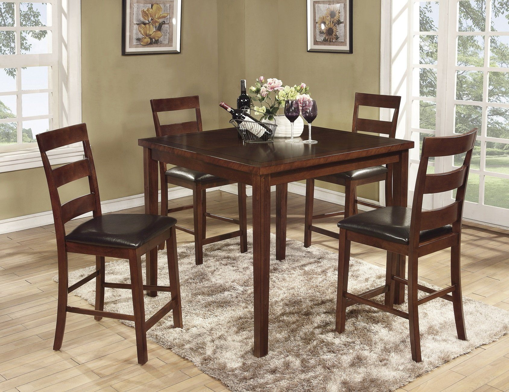 Roundhill Furniture Amery 5 Piece Counter Height Dining Set Dark Cherry Continue To The Product At Th Counter Height Dining Sets Dining Room Sets Dining Set