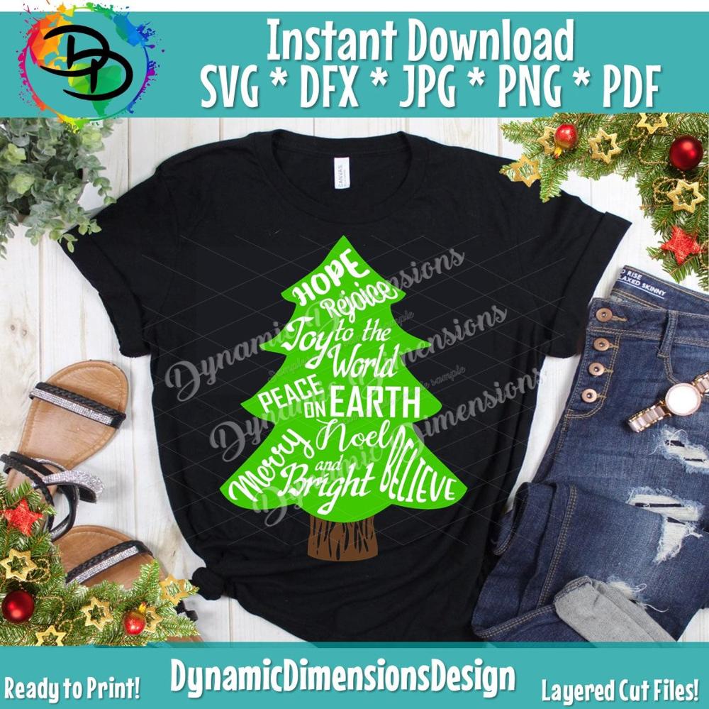 Christmas Tree Svg Believe Peace On Eart Joy To The World Etsy Christmas Tree Graphic Tree Svg Making Shirts