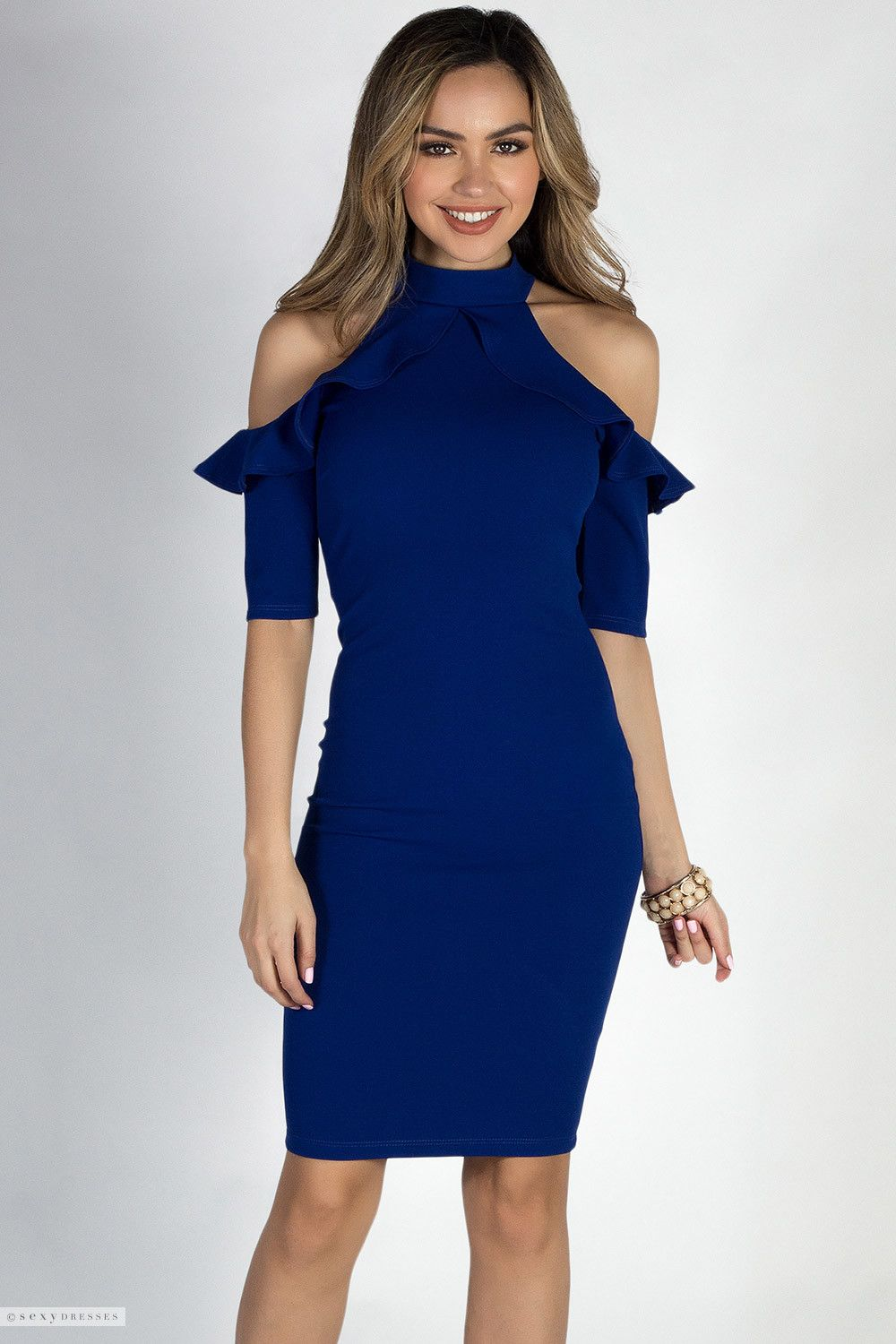 c45cf516bc2 Heart of the Ocean Royal High Neck Cold Shoulder Ruffle Cocktail Dress. 3 4  Sleeve Bodycon Midi Sexy Blue Dress with Ruffled Cut Outs