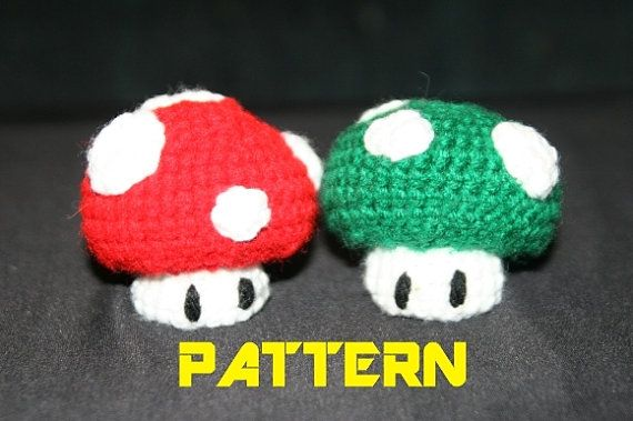 PATTERN  Super Mario Mushrooms Red and Green  by fresh1134206, $2.50