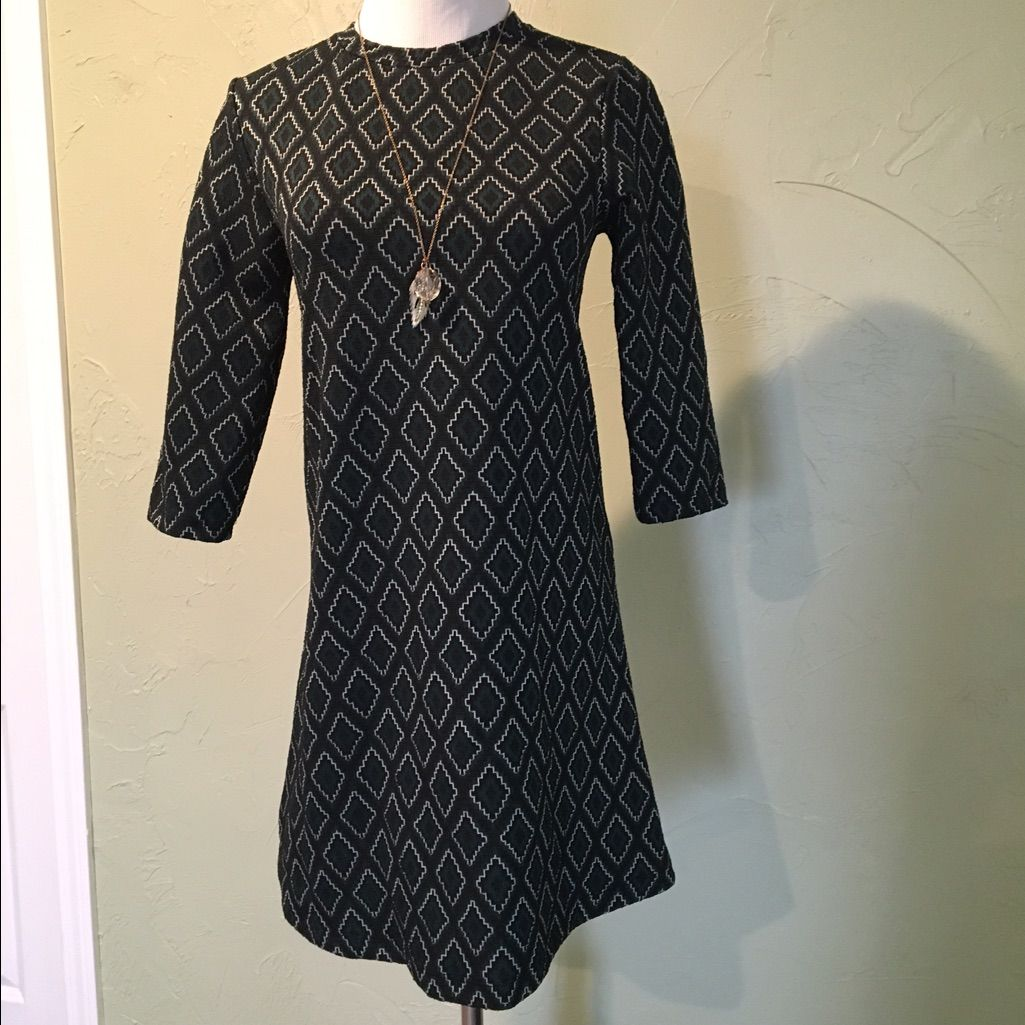 Zara black u green dress zara black and products