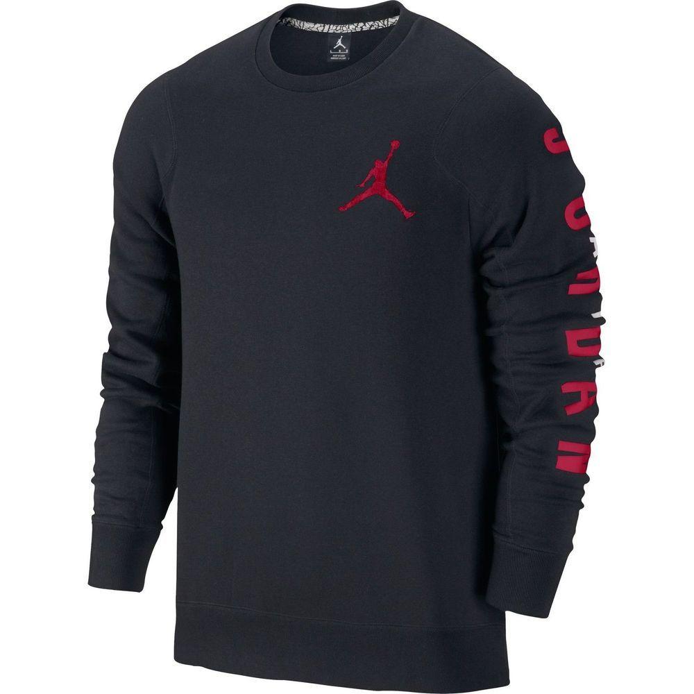 Jordan Flight Classic Fleece Crew Men\u0027s Sweat Shirt 3XL Black/Gym Red  619445-010. Jordan ShoesAir ...