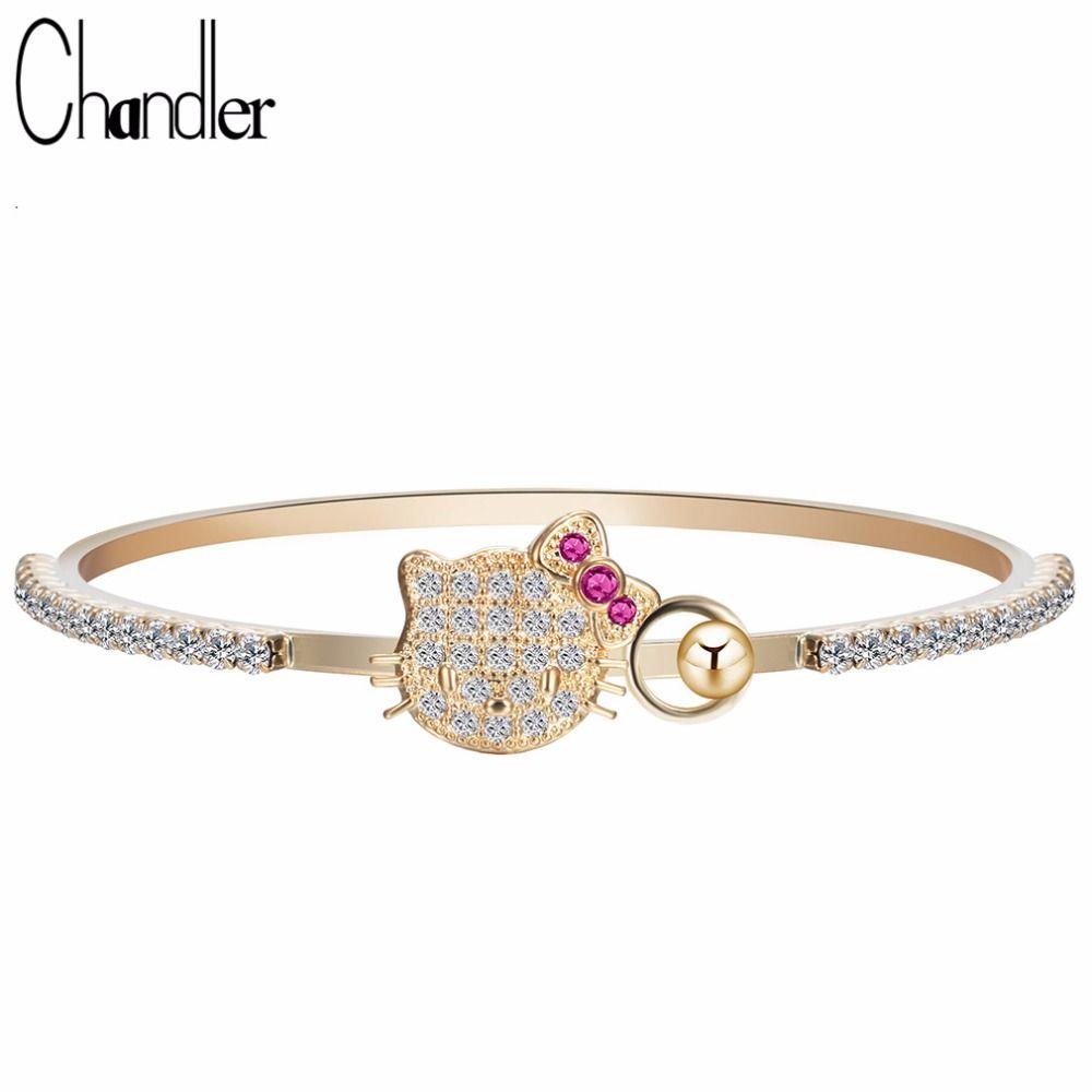 Chandler Cubic Zircon Kitty Cat Bracelets Bangles Baby Girl Gold ...