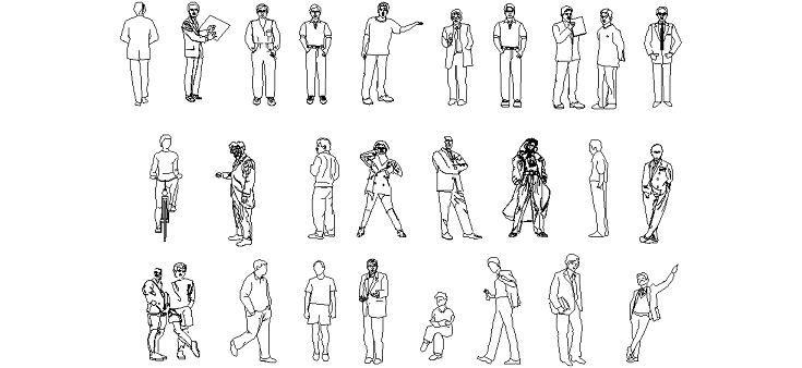 26 Adet Autocad Insan Figürü çizimi Indirdwg Insan Tefrişleri