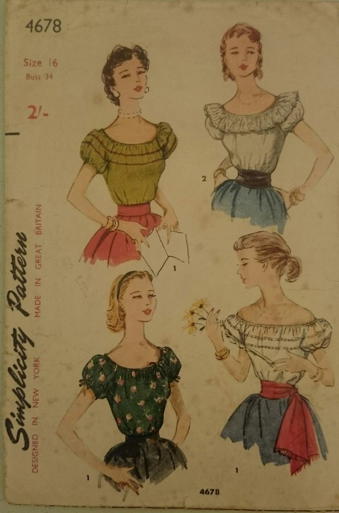 34 Best Vintage Kitchen Decor Ideas And Designs For 2019: Vintage 1950s Sewing Pattern Simplicity Misses' Blouse