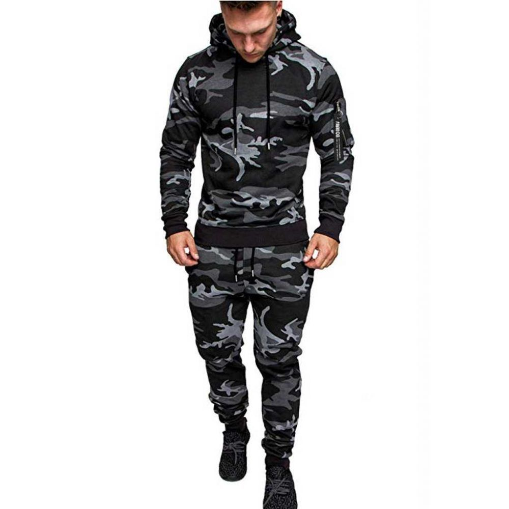 Men's Running Tracksuit with Camouflage Print | GeezGym