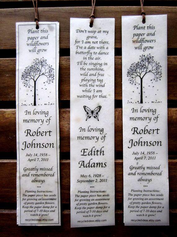 35 Plantable Seed Paper Bookmarks - Memorial Funeral ...