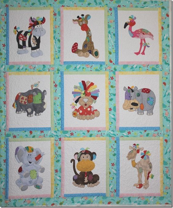 Fabulous example of applique quilting. The pattern is called Jungle Patches and is sold by craft ...