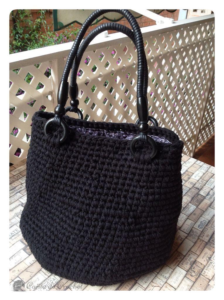 Bolso negro trapillo algodón | trapillo | Pinterest