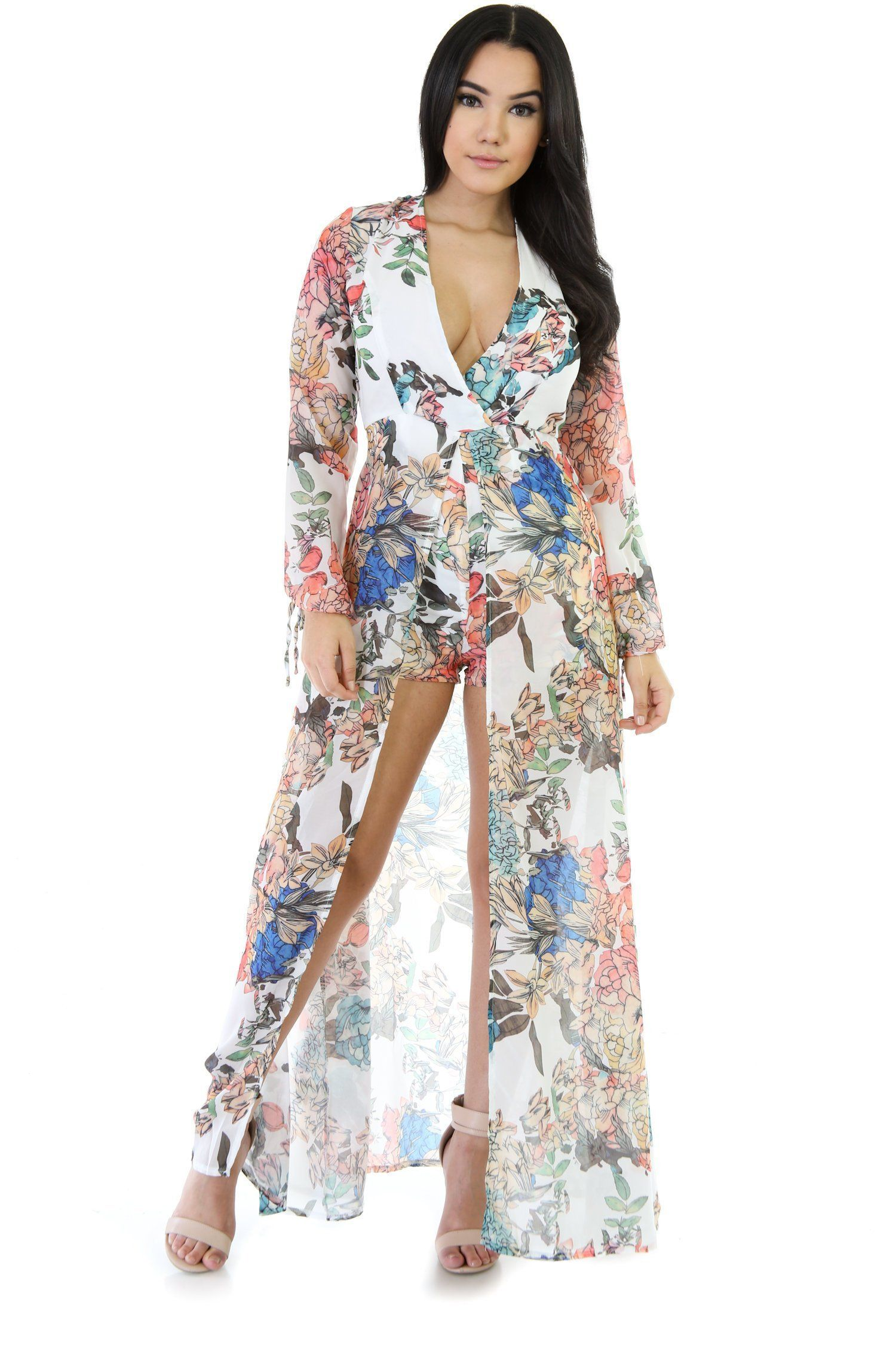 Long sleeve floral maxi overlay romper multi products