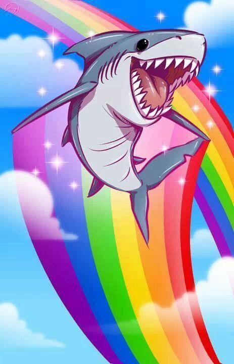 phone wallpaper shark rainbow cartoon (With images