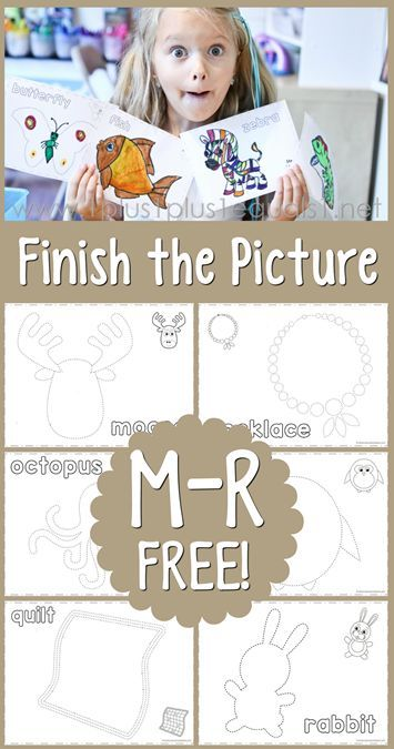 Finish the Picture M, N, O, P, Q, R ~ Draw a moose, necklace, octopus, penguin, quilt and rabbit!