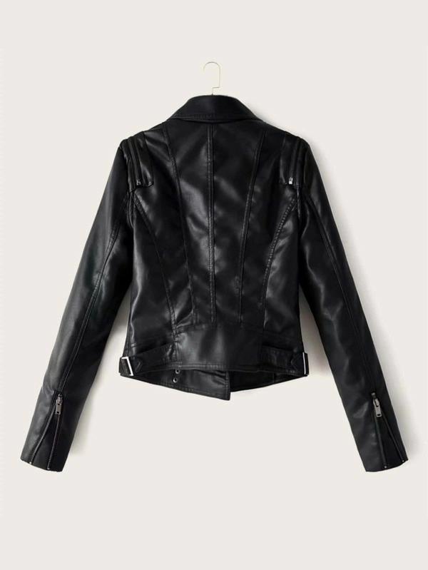 Zip Up PU Leather Biker Jacket SHEIN EUR Leather biker