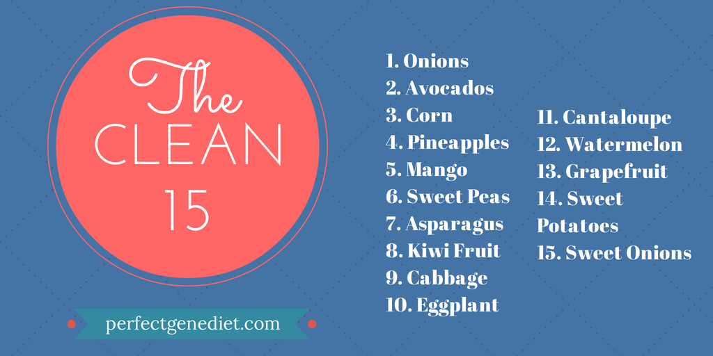 """The Clean 15 is the fruits and vegetables that are """"ok"""" to"""
