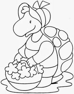 Desenho Da Dona Tartaruga Com Cesta De Flores Riscos Pintura