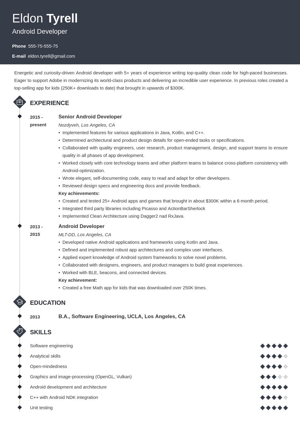Android Resume Developer Example Template Diamond Job Resume Examples Resume Layout Illustrator Tutorials Logo