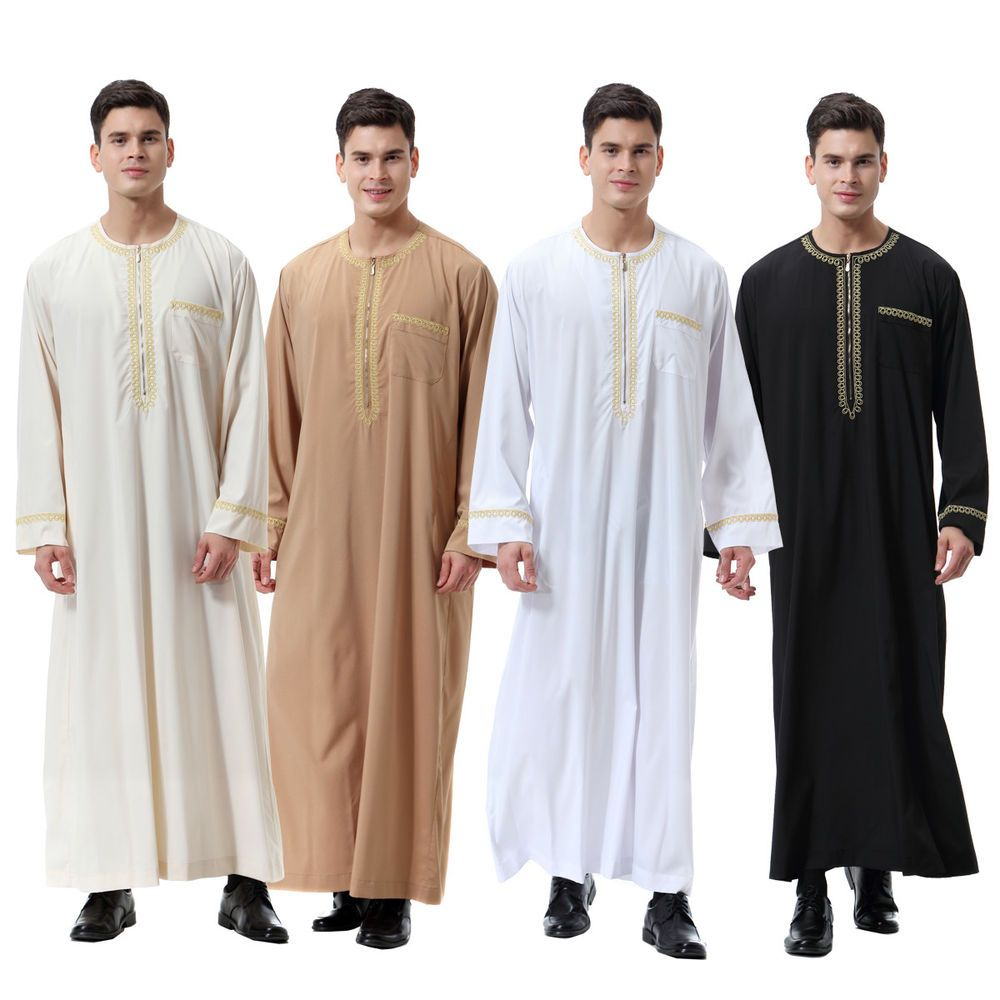 Men Muslim Dress Saudi Style Thobe Robe Islamic Kaftan Abaya Arab Dubai Clothing