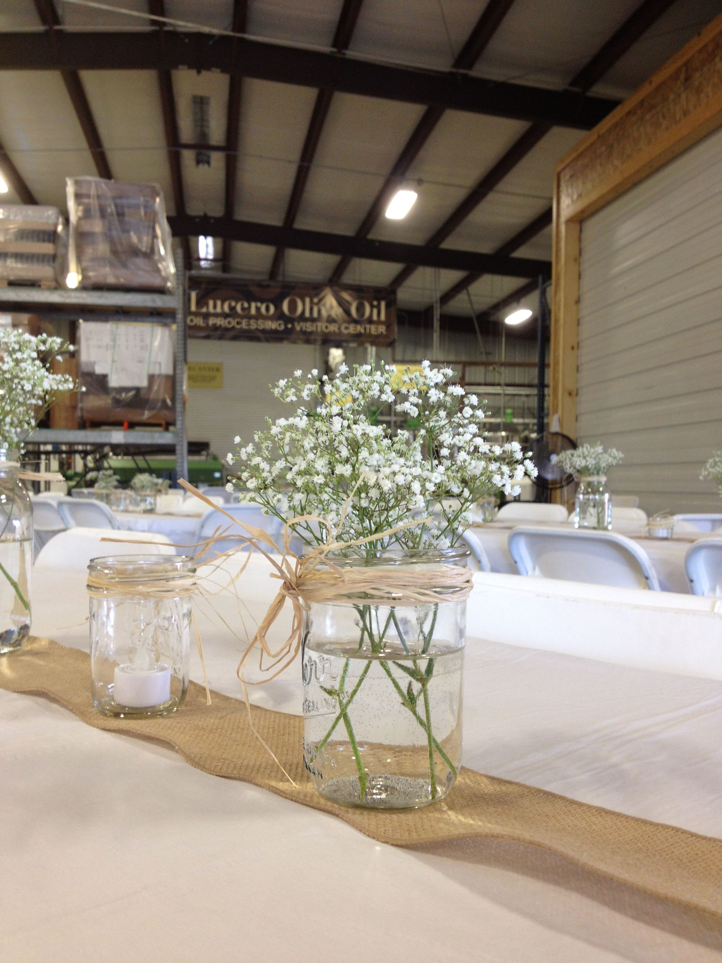 Burlap Table Runners With Babys Breath In Mason Jars Simple,