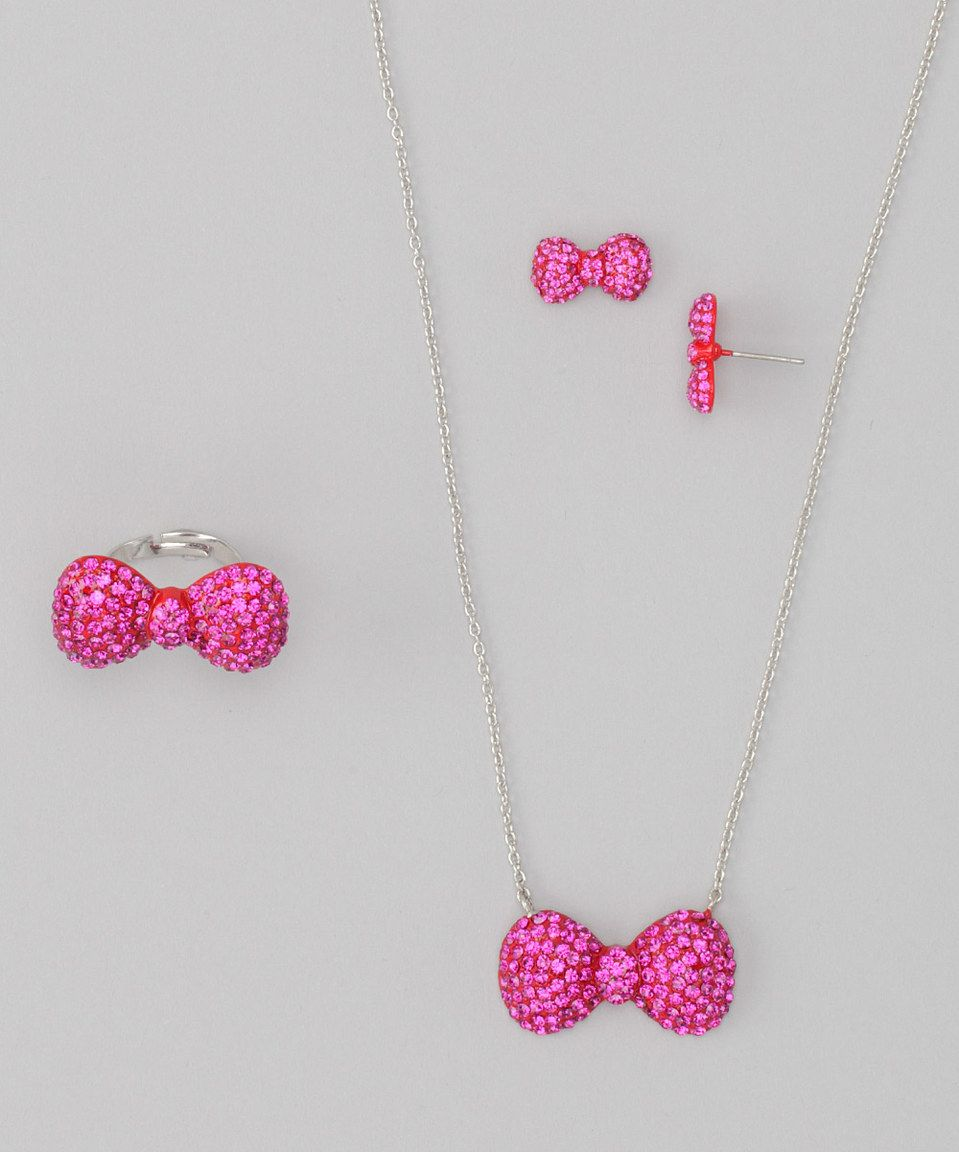 Look what I found on #zulily! GIRL NATION Fuchsia Crystal Bow Necklace Set by GIRL NATION #zulilyfinds