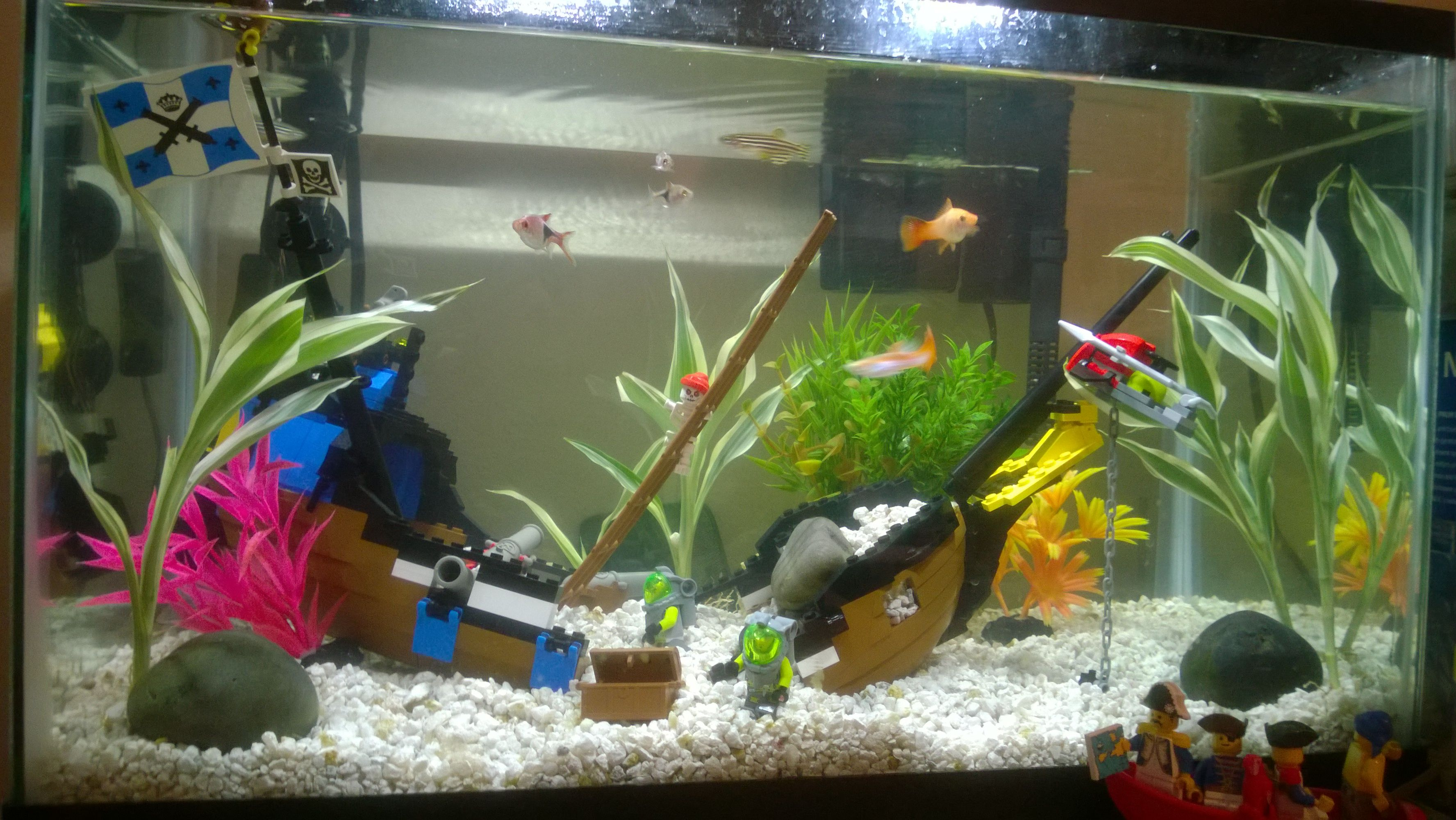 I Just Put The Finishing Touches On My Lego Shipwreck Fish Tank It
