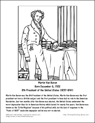 martin van buren worksheets and coloring pages