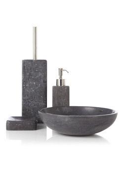 Masculine badkamers verdienen een mooi badkamersetje zoals deze Aquanova badkamerserie Hammam in extra zware kwaliteit marmer.