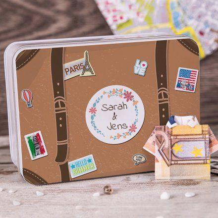 Personalisierbare Geschenkdose Reisekasse Geldgeschenk