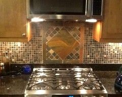 Sheila Found Hers At Home Depot Slate Mosaic Bought Lots Of Slate 12x12 S For Another Project And A 12x12 Squar Countertop Backsplash Countertops Backsplash