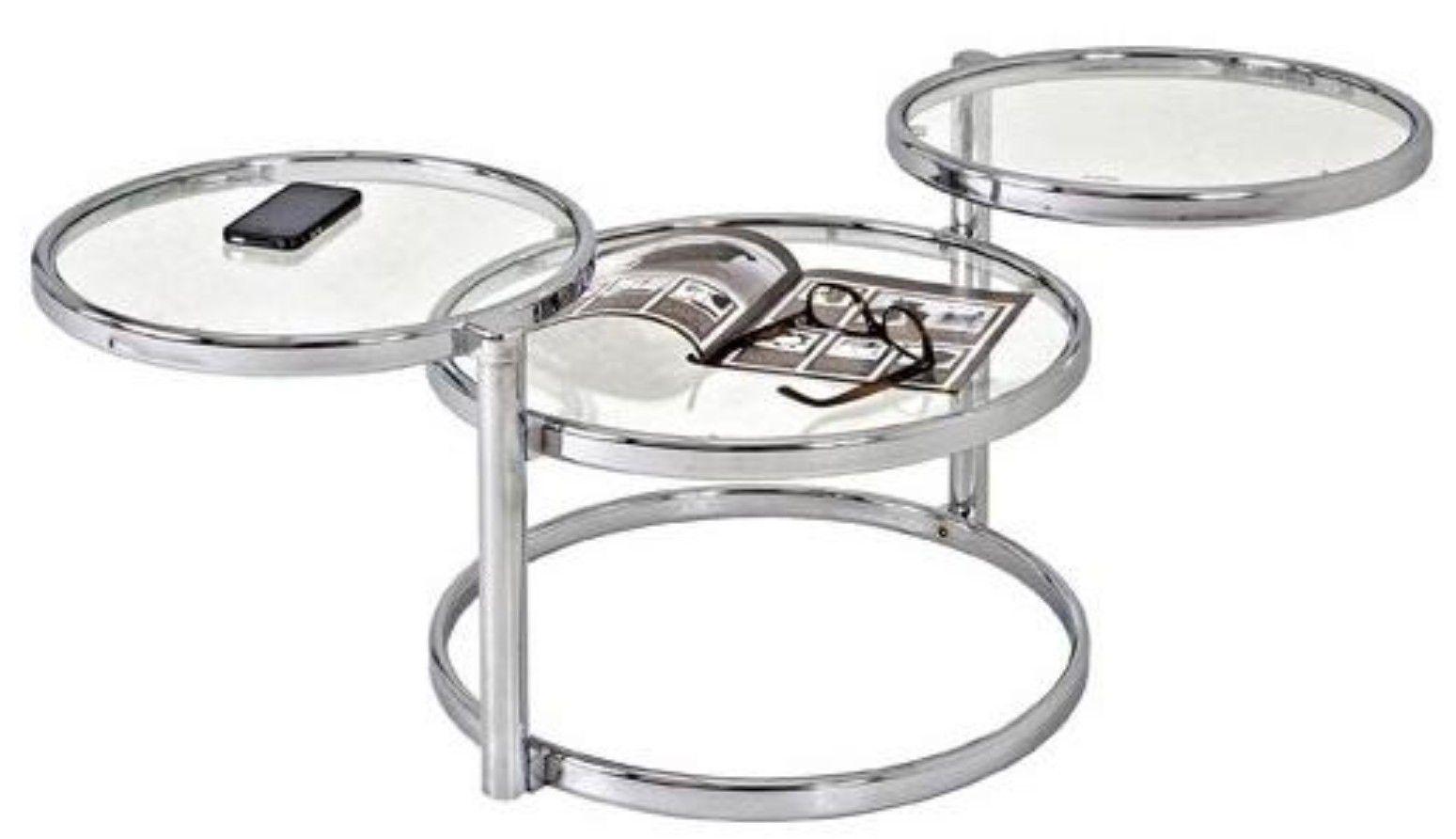 Table Basse Pivotante Verre Trempe Et Metal Chrome Ariol Lestendances Fr Table Basse Plateau Rond Table Blanc Laque