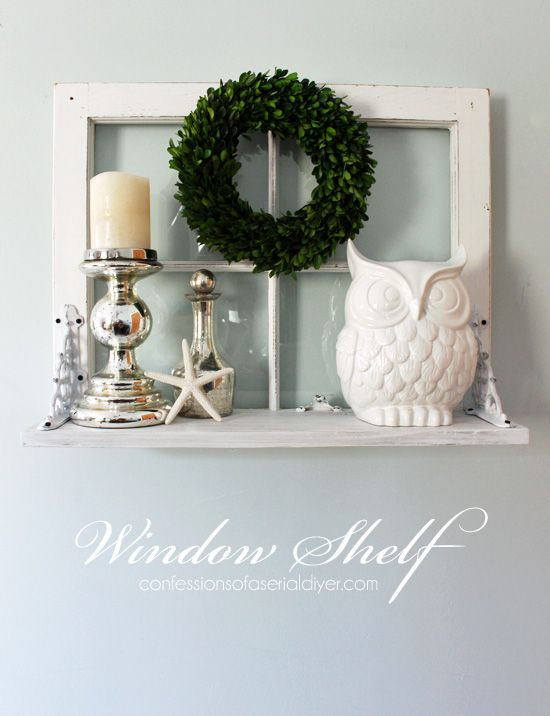 25 Ways to Decorate with Vintage Windows Window shelves, Shelving